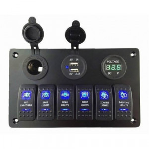 Rock Light Control & USB 12V Panel - 6\'lı Rocker Switch