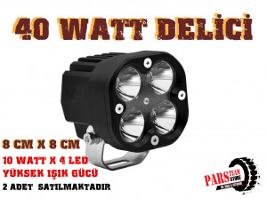 40W 4 LED DELİCİ KARE (80MM) TAKIM